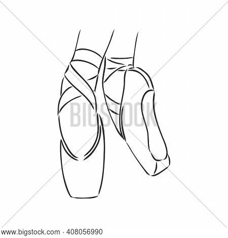 Pointe Shoes. Ballet Shoes. Vector Hand-drawn Illustration. Ballet Dance Studio Symbol. Pointe Shoes
