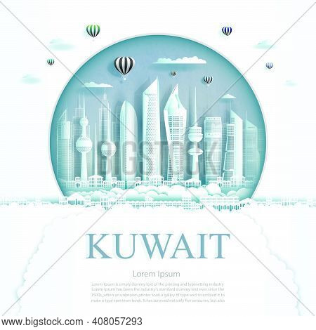 Travel Kuwait Monument In Kuwait City Modern Building In Circle Texture Background. Business Travel