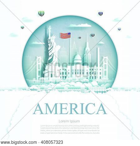 Travel America Monument In Kuwait City Modern Building In Circle Texture Background. Business Travel