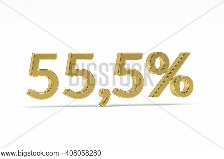 Gold Digit Fifty-five Point Five With Percent Sign - 55,5% Isolated On White - 3d Render