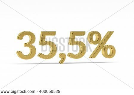 Gold Digit Thirty-five Point Five With Percent Sign - 35,5% Isolated On White - 3d Render