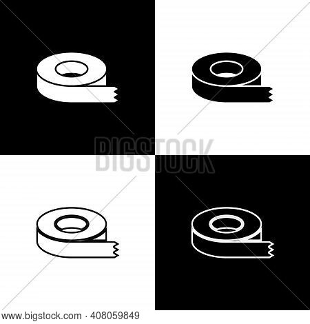 Set Scotch Tape Icon Isolated On Black And White Background. Insulating Tape. Vector
