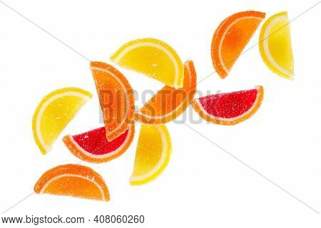 Sugar Jelly Candies In The Form Of Fruit Slices Isolated On A White Background