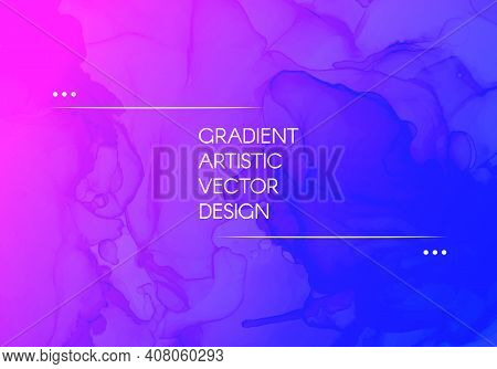Abstract Fluid. Blue Pink Gradient Motion. Minimal Liquid Flyer. Alcohol Inks Paint Template. Futuri