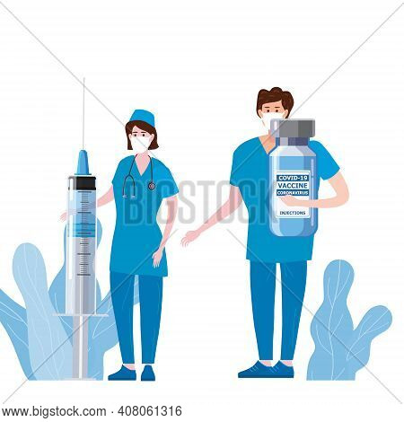 Time To Vaccination For Immunity Health, Doctor And Nurse, Syringe And Bottle, Vaccine Of Of Flu. He