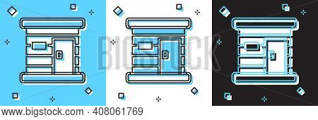 Set Sauna Wooden Bathhouse Icon Isolated On Blue And White, Black Background. Heat Spa Relaxation Th