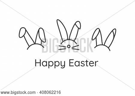 Vector Cute Festive Horizontal Banner With Rabbit Ears. Greeting Card Three Heads Of Bunny On White