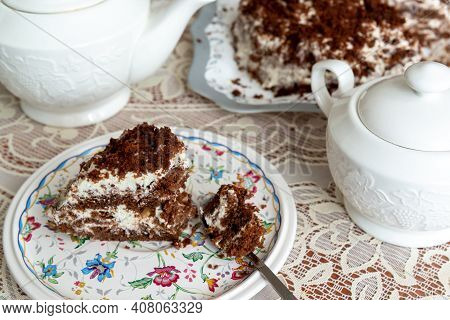Appetizing Homemade Cake With Coffee Biscuit And Sour Cream