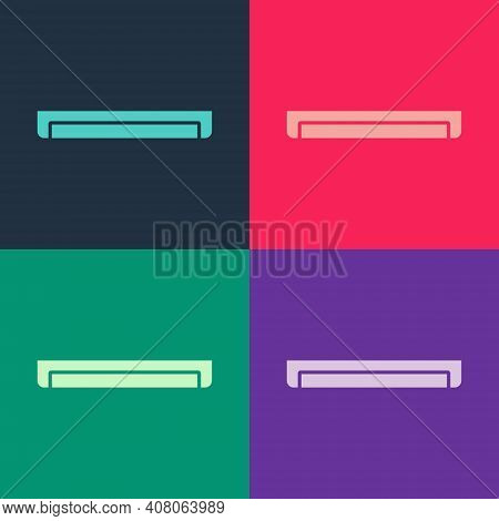 Pop Art Long Luminescence Fluorescent Energy Saving Lamp Icon Isolated On Color Background. Vector