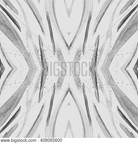 Seamless Zebra Texture. Watercolour Animal Skin. Gray Fashion Zoo Wallpaper. Safari Stripe Fabric. Z