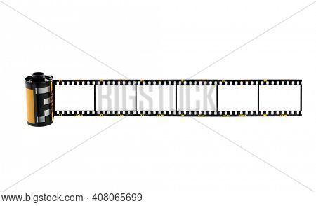 Nostalgic 35mm camera film with space for your images isolated on white background.  Film's fiction brand name Rafu Jira was created by the artis
