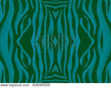 Seamless Ethnic Texture. Abstract Animal Textile Design. Geometric African Background. Blue Tiger Sk