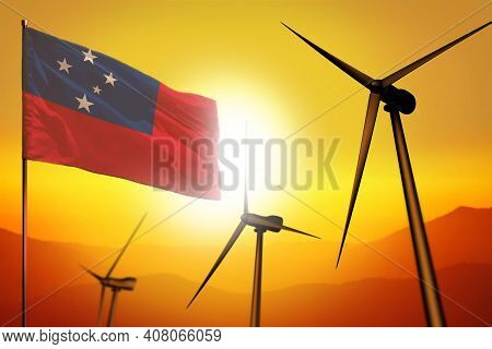 Samoa Wind Energy, Alternative Energy Environment Concept With Turbines And Flag On Sunset - Alterna