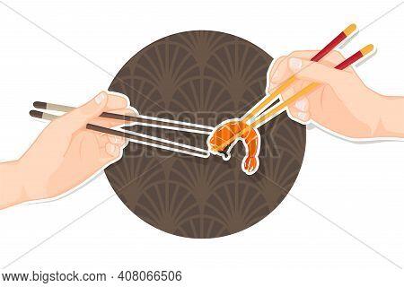 Hand Holding Shrimp With Chopsticks, Chopstick Vector