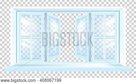 Opened House Plastic Window Modern Blue Illustration On Transparent Background With Sill, Glass. Arc