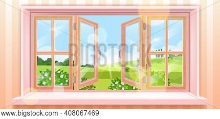 Opened House Window Vector Spring Landscape, Outside Summer View, Blossom Bushes, Blue Sky, Sun, Mea