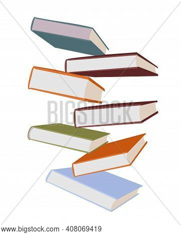 Stack Of Colorful Books Isolated On White. Flit, Flying Books. Stack Of Books On A White Background.