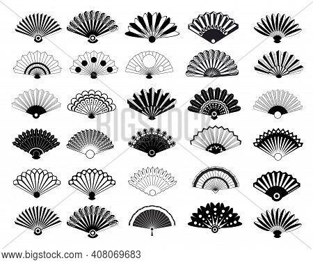 Vintage Elegant Oriental Fans Of Set Vector Silhouettes. Oriental Fan Chinese, Decoration Japanese S