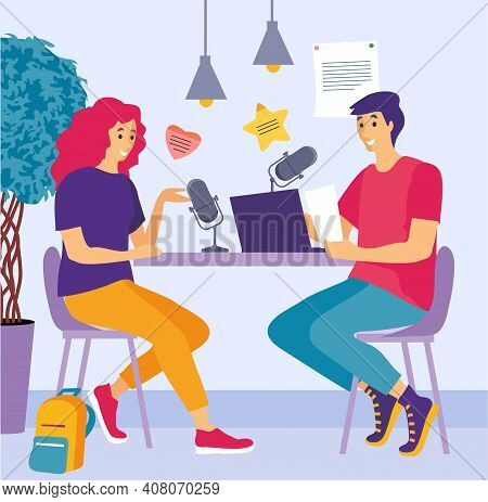 People Recording Audio Podcast Or Online Show Vector Flat Illustration. Person Radio Host Interviewi