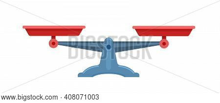 Weighing Scale, Isolated On White Background. Vector Flat Illustration.