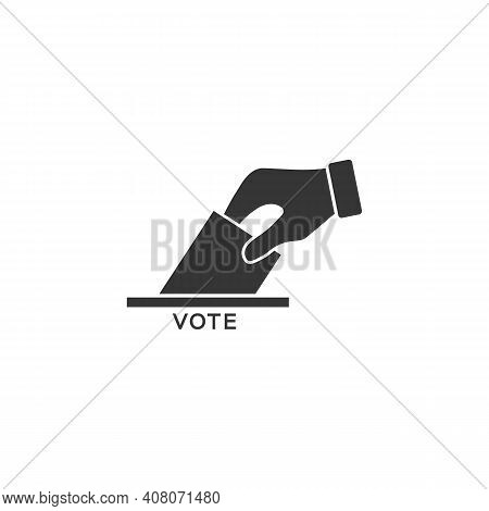 Flat Hand Putting Vote Bulletin Into Ballot Box Icon. Election Concept
