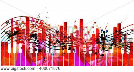 Music Promotional Poster With Multicolored Piano Keyboard And Notes Isolated Vector Illustration. Co