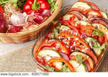 Ratatouille French Provence Dish. Autumn French Stew Of Vegan Vegetables Eggplant, Paper, Tomato, Zu