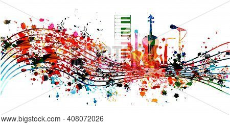 Colorful Music Promotional Poster With Musical Instruments And Notes Isolated Vector Illustration. A