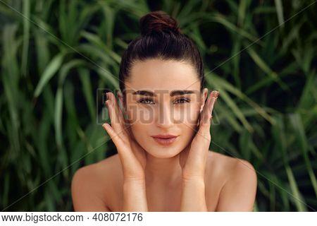 Beauty Face. Woman Touching Healthy Skin Portrait. Beautiful Happy Girl Model With Fresh  Facial Ski