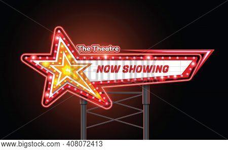 Light Sign Billboard Cinema Theatre Star Shape Vector Illustration