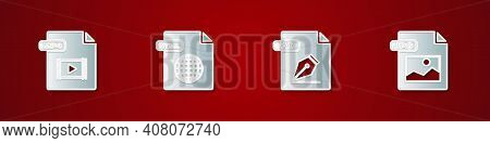 Set Mp4 File Document, Html, Ai And Jpg Icon. Vector