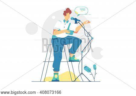 Man Podcaster Recording Audio Podcast Vector Illustration. Joyful Person On Radio, Media Broadcastin