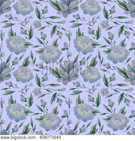 Seamless Patterns. Blue Flowers, Buds And Leaves On A Light Blue Background. Watercolor. Floral Patt