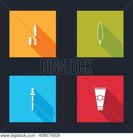 Set Eyeliner, Eyebrow, Eyebrow Tweezers, Pipette And Lotion Cosmetic Tube Icon. Vector
