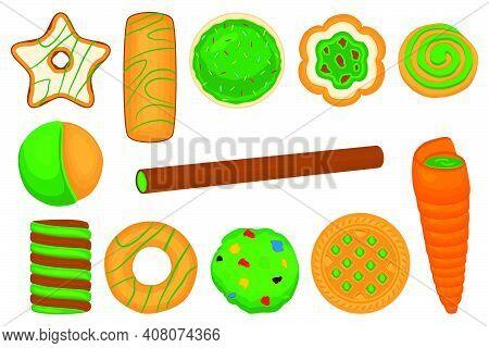Illustration On Theme Irish Holiday St Patrick Day, Big Set Green Cookies. Pattern St Patrick Day Co