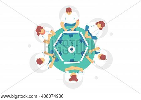 Business Meeting At Round Table Vector Illustration. Clerks Sit At Round Table And Discussing Ideas