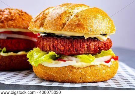 Tasty Hamburger Made With Vegetarian Plant Based Imitation Minced Meat Burger And Fresh Vegetables