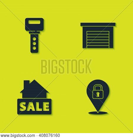 Set House Key, Location Lock, Hanging Sign With Sale And Garage Icon. Vector