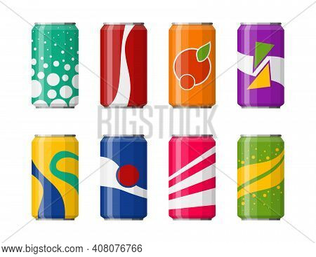 Soda In Colored Aluminum Cans Set Icons Isolated On White Background. Soft Drinks Sign. Carbonated N