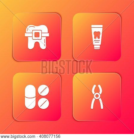 Set Teeth With Braces, Tube Of Toothpaste, Painkiller Tablet And Dental Pliers Icon. Vector