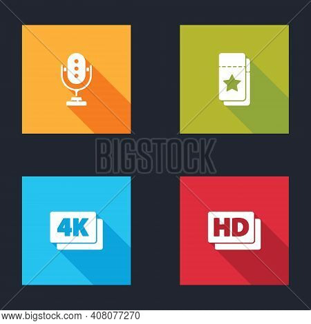 Set Microphone, Cinema Ticket, 4k Ultra Hd And Hd Movie, Tape, Frame Icon. Vector