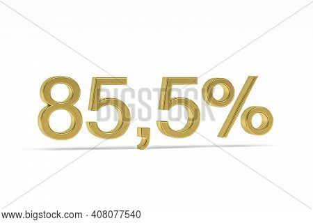 Gold Digit Eighty-five Point Five With Percent Sign - 85,5% Isolated On White - 3d Render