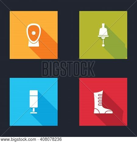 Set Boxing Training Paws, Ringing Bell, Punching Bag And Sport Boxing Shoes Icon. Vector