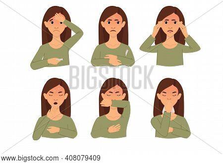 Symptoms Of The Disease, Covid-19. Coronavirus Warning. Woman With Dangerous Disease Symptoms. Cough