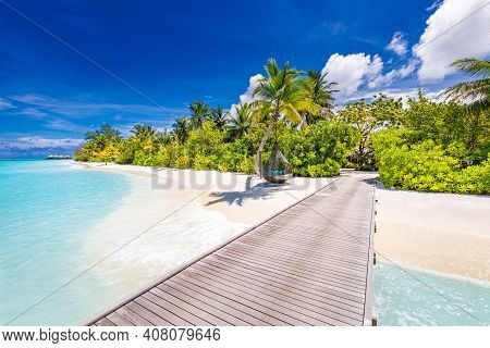 Maldives Island Beach. Tropical Landscape Of Summer Scenery, White Sand With Palm Trees. Luxury Trav