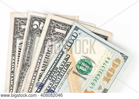 Banknotes Of United States Of. Dollars On A White Background. Business Concept. One Dollar Banknote.