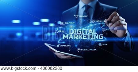 Digital Marketing. Online Advertising. Seo, Smm. Business Internet Technology Concept.