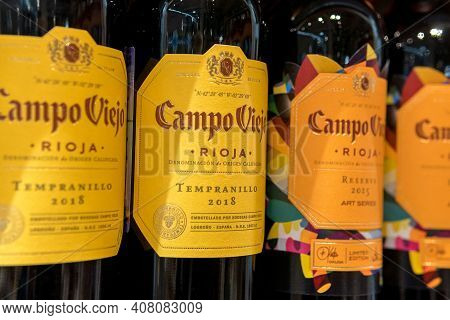Tyumen, Russia-january 31, 2021: Bottles Of Campo Viejo Rioja Red Wine. Variedad De Uva Tempranillo