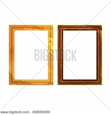 Vintage Antique Gold Beautiful Rectangular Frames. Set Of Squared Golden Vintage Wooden Frame For Yo