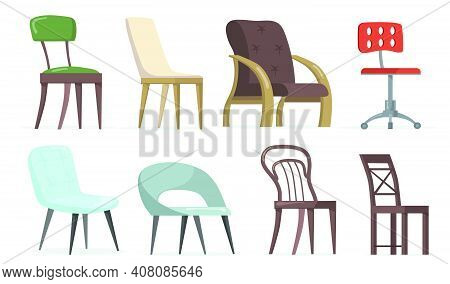 Chairs And Armchairs Set. Home And Office Furniture, Seats For Living Rooms Or Workplaces. Vector Il